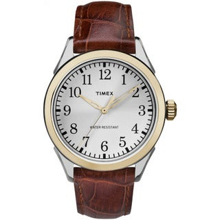 Timex Men's TW2P995009J Briarwood Terrace Brown Crocodile Pattern Leather Strap Watch