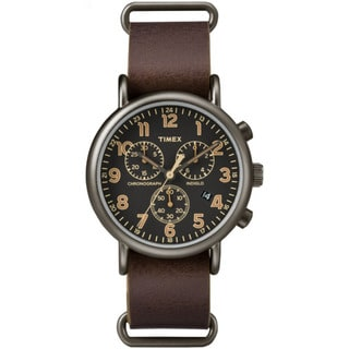 Timex Men's TW2P854009J Weekender Dark Brown Leather Slip-thru Strap Oversized Chronograph Watch