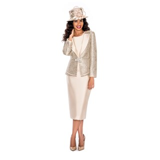 Ella Belle Women's Two-tone Fabric Combo Skirt Suit