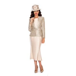 Ella Belle Women's 3-Piece Contrast Two-tone Fabric Skirt Suit