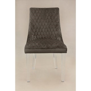 HD Couture Dark Grey Mistral Velvet/Acrylic Chairs (Set of 2)