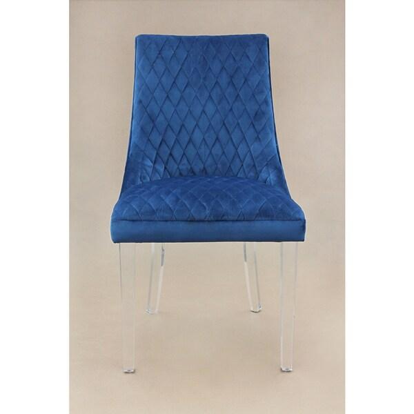 Arlene Blue Mistral Velvet Chair Set Of 2 Free