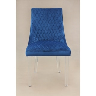 Shop Arlene Blue Mistral Velvet Chair (Set of 2 ...