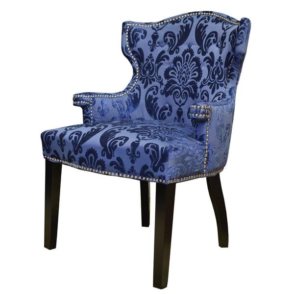Navy Blue Fan Damask Brittania Arm Chair - Free Shipping ...