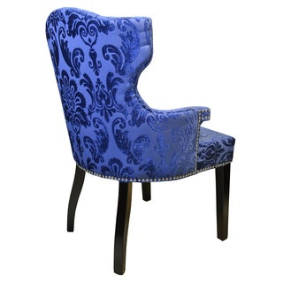 Navy Blue Fan Damask Brittania Arm Chair