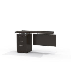 Mayline Sterling Series Brown Laminate Single Pedestal Left-handed Computer Desk