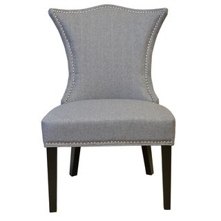 Stallion 'Linda' Tufted-back Grey Linen Chair