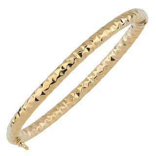 Fremada Italian 14k Yellow Gold 5-mm Diamond-Cut Bangle Bracelet