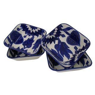 Handmade Set of 4 Le Souk Ceramique Square Jinane Stoneware Pasta/Salad Bowls (Tunisia)