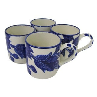 Handmade Set of 4 Le Souk Ceramique Jinane Stoneware Coffee Mugs (Tunisia)