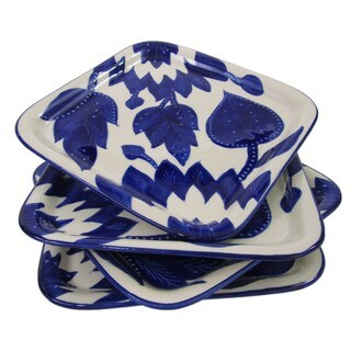 Handmade Set of 4 Le Souk Ceramique Jinane Square Stoneware Plates (Tunisia)