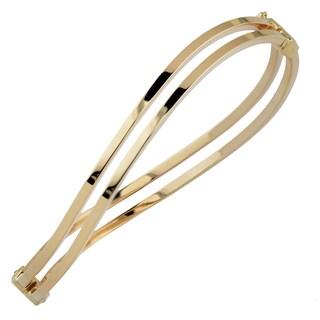 Fremada Italian 14k Yellow Gold 6-mm High Polish Double Wave Bangle Bracelet