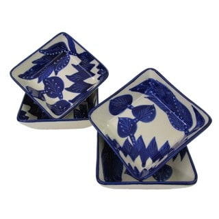 Set of 4 Le Souk Ceramique Square Jinane Stoneware Sauce Dishes (Tunisia)