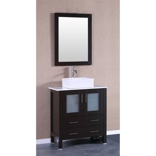 Bosconi 30-inch Espresso Steel/Wood/Ceramic Single Vanity with Mirror