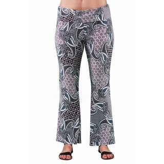24/7 Comfort Apparel Women's Plus Size Geometric Paisley Printed Pant