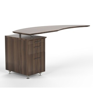 Mayline Medina Series Curved Desk Return With Pencil-Box-File Pedestal (Left) Executive Desk