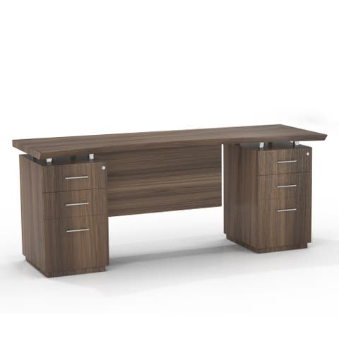 """Mayline Sterling Series 72-inch Double-pedestal Credenza Executive Desk - 72"""""""