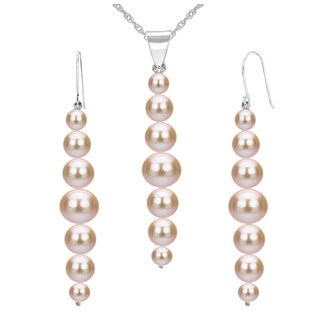 DaVonna 14K White Gold 5-8.5mm Pink Graduated Freshwater Pearl Pendant & Earrings Jewelry Set 18