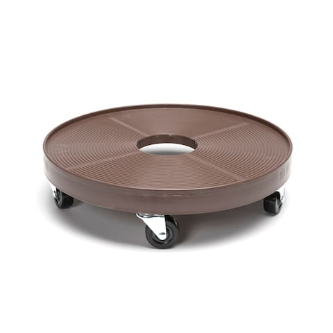 Plastic 16-inch Plant Dolly with Hole - Espresso
