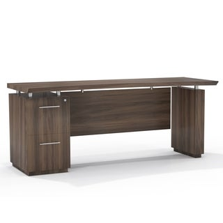Mayline Sterling Series Brown Laminate Single Pedestal Executive Desk