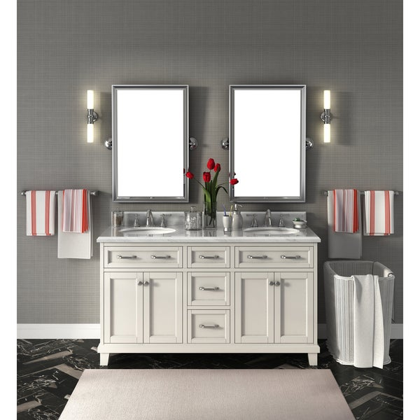 Shop Carolina White 60 Inch Marble Top Double Bathroom Vanity Free