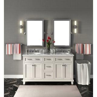 Carolina White 60-inch Marble Top Double Bathroom Vanity