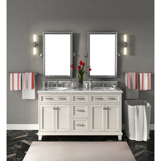 Carolina White 60 Inch Marble Top Double Bathroom Vanity