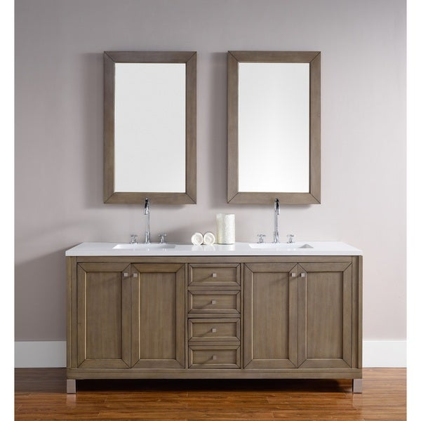 chicago 72-inch white washed walnut double bathroom vanity - free
