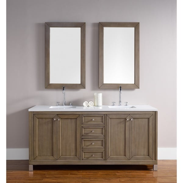 Bathroom Cabinets 72 Inches chicago 72-inch white washed walnut double bathroom vanity - free