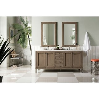 "Chicago 72"" Double Vanity, White Washed Walnut"