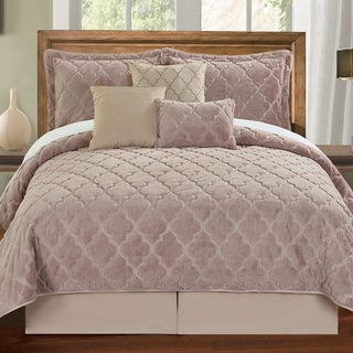 Serenta Faux Fur Moroccan Design 7-piece Quilt Set