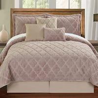 Serenta Faux Fur Moroccan Design 7-piece Quilt Set