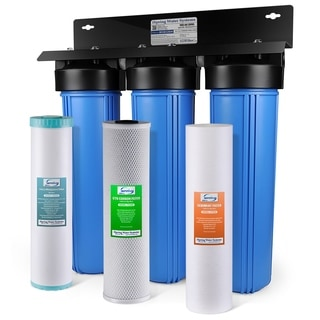 ISpring 3-Stage Lead, Iron, Manganese Reduction 100,000 Gallon Whole House Water Filter Sediment and Fine Carbon Block