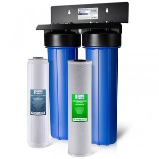 iSpring #WGB22B-PB Lead Iron Chloride Reducing 2-stage 80,000-gallon Big Blue Whole House Water Filter