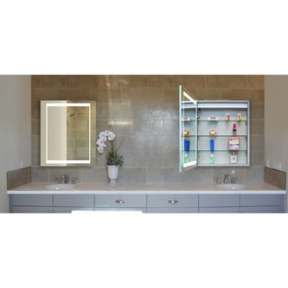 Innoci-USA Atlas LED Wall Mount Mirrored Lighted Medicine Cabinet Vanity Featuring Adjustable Tempered Glass Shelves