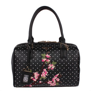 Nicole Lee Kayley Black Faux-leather Floral Embellishment Boston Handbag