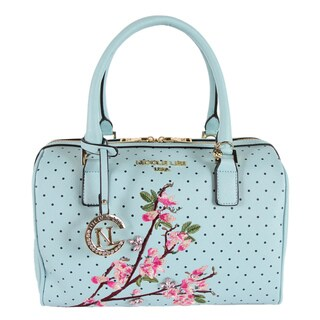 Nicole Lee Kayley Blue Floral Embellishment Boston Handbag