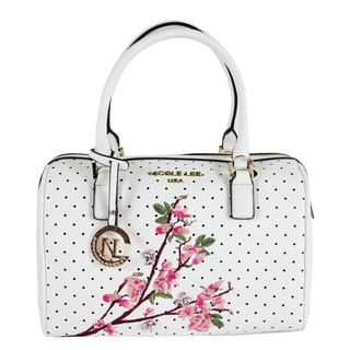 Nicole Lee Kayley White Floral Embellishment Boston Handbag