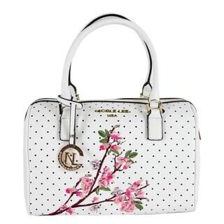 Nicole Lee Kayley White Floral Embellishment Boston Handbag