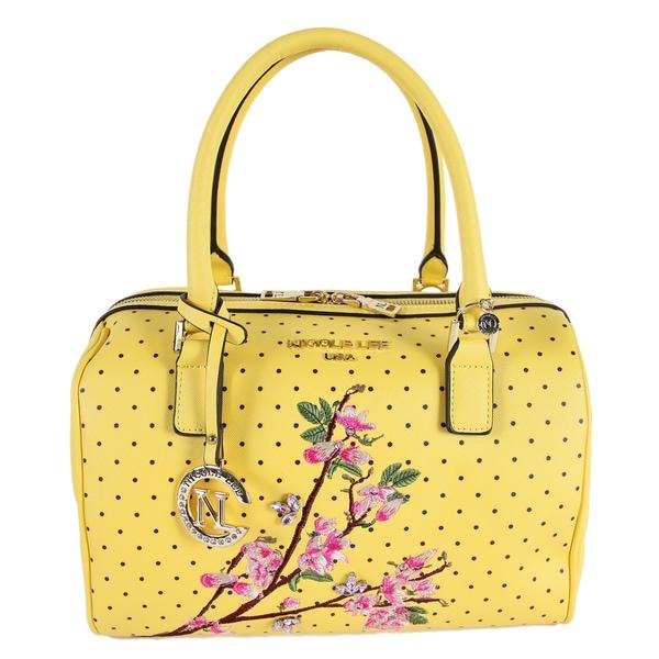 Nicole Lee Kayley Yellow Faux Leather Floral Embellishment Boston Handbag