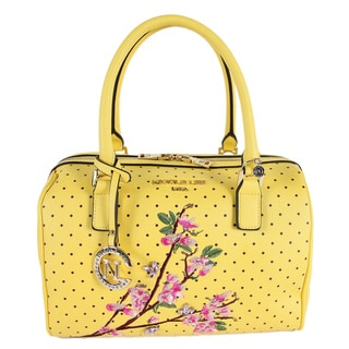 Nicole Lee Kayley Yellow Faux Leather Floral Embellishment Boston Handbag
