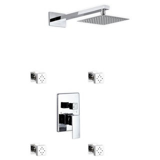 Kube Bath Aqua Piazza Chrome Brass Shower Set With 8-inch Square Rain Shower and 4 Body Jets