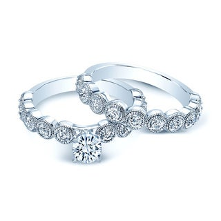 14k White Gold 1 1/2ct TDW Diamond Bridal Ring Set (H-I, VS1-VS2)
