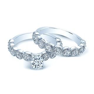 14k White Gold 1 1/2ct TDW Diamond Bridal Ring Set