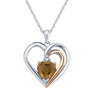 Divina Silver Diamond Accent and Citrine Gemstone Heart Pendant with 18-inch Rope Chain