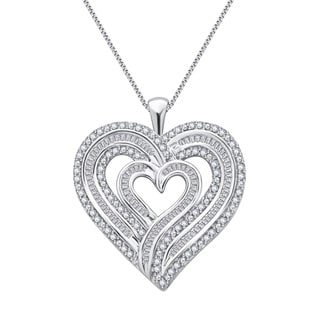 Divina Sterling Silver 1ct TDW Diamond Heart Pendant (I-J, I2-I3)