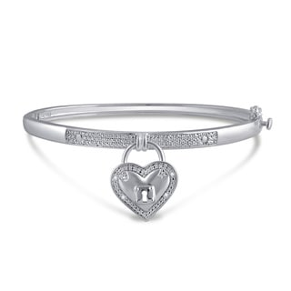 Divina White Gold over Brass Diamond Accent Heart Bangle