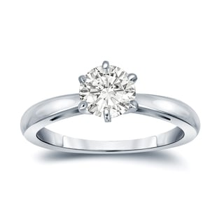Auriya 14k Gold 1ct TDW Round-Cut Diamond 6-Prong Solitaire Engagement Ring