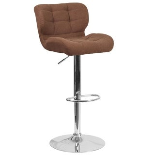 Contemporary Tufted Fabric Adjustable Height Barstool with Chrome Base