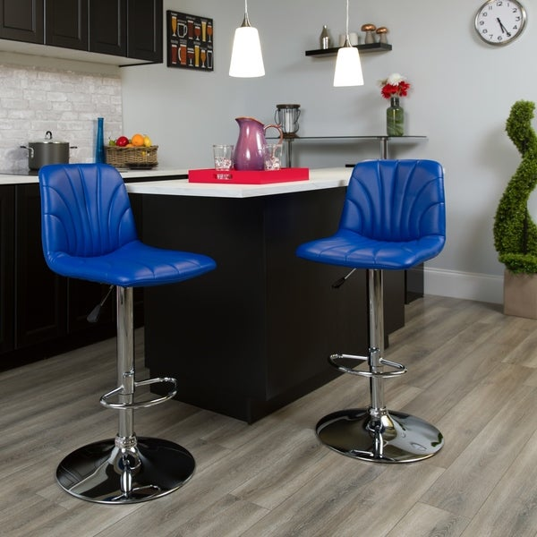 Contemporary Blue Quilted Design Vinyl Adjustable Height Barstool w//Chrome Base